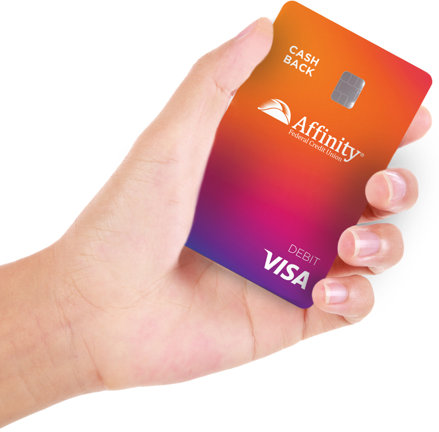 hand with cash back debit card