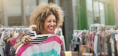 Young woman shopping with her Affinity Credit Card