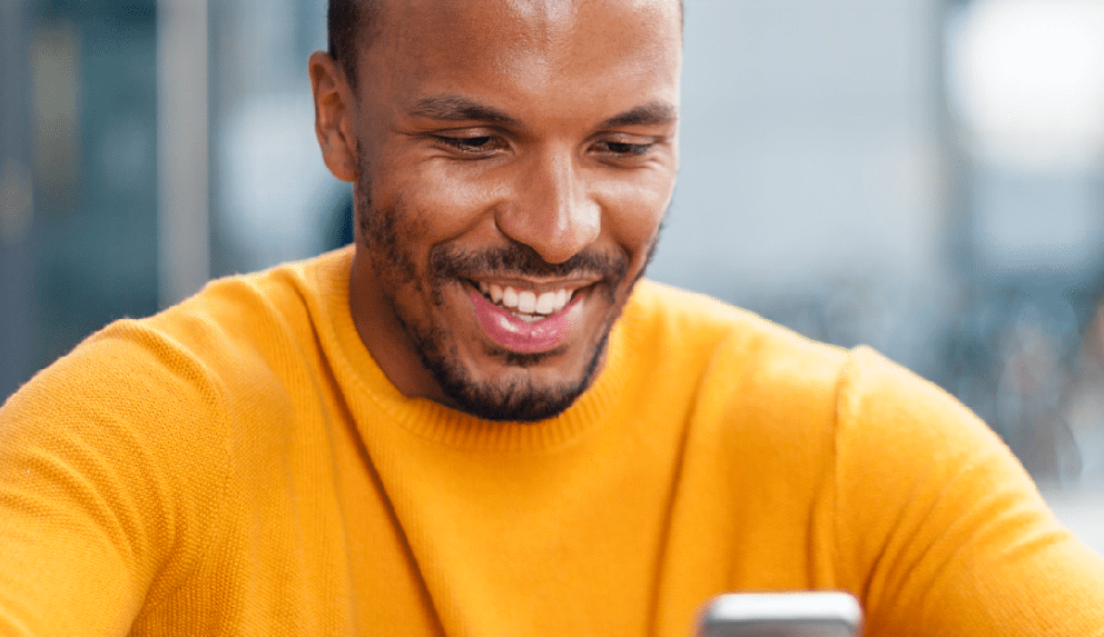 young man using Affinitys' online banking app
