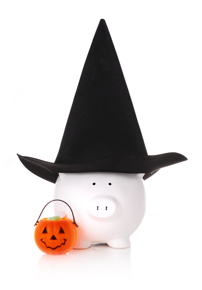 Fun image of a piggy bank in a witch costume