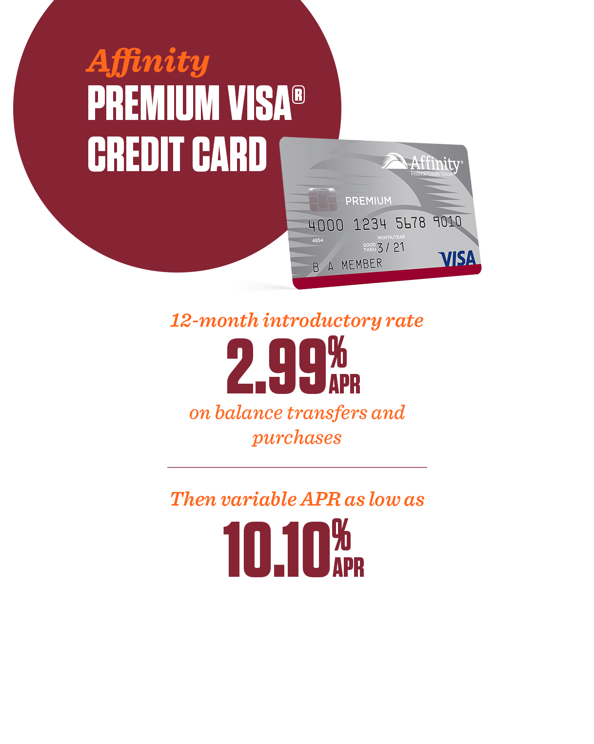 Premium Visa credit card promotion